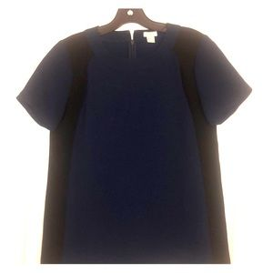 J. Crew navy and black dress blouse
